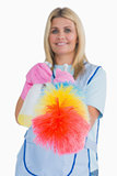 Cleaner holding feather duster