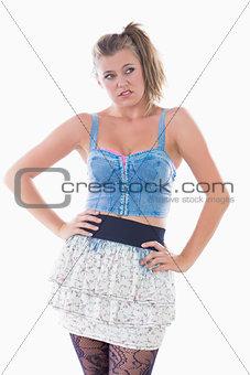 Blonde woman pouting
