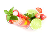 Cocktail collection: Strawberry mojito with lime and mint. Small