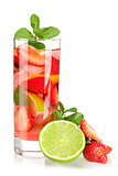 Cocktail collection: Strawberry mojito with lime and mint