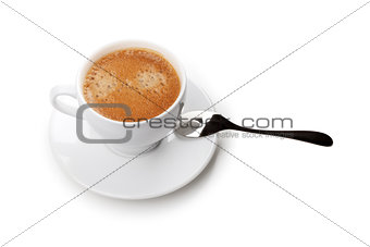 Cappuccino cup with spoon. Above view