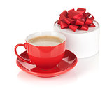 Red coffee cup and gift box with bow