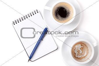 Blank organizer with pen and two coffee cups