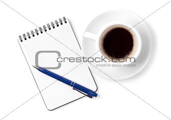 Blank organizer with pen and espresso cup