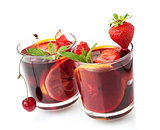 Refreshing fruit sangria in two glasses