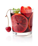 Refreshing fruit sangria with strawberry, orange and cherry
