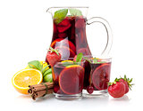 Refreshing sangria (punch) and fruits