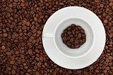 Coffee cup with beans