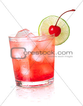 Alcohol cocktail with maraschino and lime