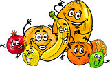 citrus fruits group cartoon illustration