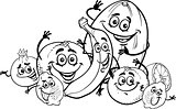 citrus fruits cartoon for coloring book