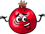 funny pomegranate fruit cartoon illustration
