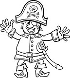 pirate captain cartoon for coloring book
