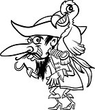 pirate with parrot for coloring book