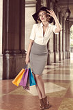 shopping girl in fashion pose outside vintage color
