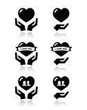 Hands with heart, love, relationship icons set