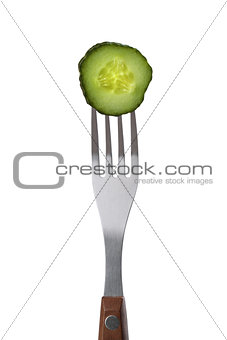 Cucumber on fork