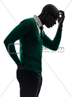 african black man thinking pensive  annoyed silhouette