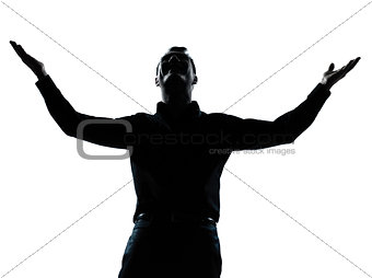 one business man happy arms outstretched silhouette