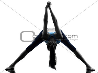 woman exercising yoga stretching legs warm up