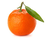 Ripe tangerine with green leaf