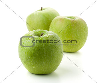 Three ripe green apples