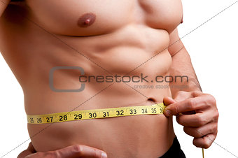 Fit Man Measuring His Waist