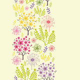 Vector blossoming trees vertical seamless pattern ornament background