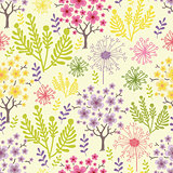Vector blossoming trees seamless pattern background