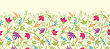 Vector painted blossoming branches horizontal seamless pattern background border