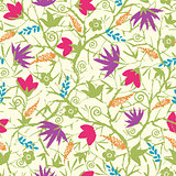 Vector painted blossoming branches seamless pattern background
