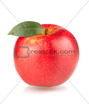 A ripe red apple with green leaf