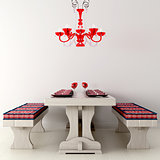 Holiday table and chandelier