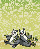 Two cartoon panda and bamboo leaves