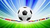 Soccer ball, flags
