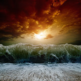Stormy sea, sunset