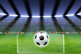 Soccer ball, stadium, spotlights
