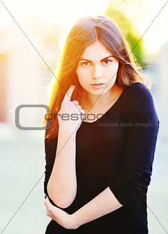 adorable young cute girl portrait outdoor