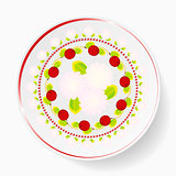 The dish, pattern with cherries