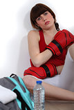 Woman tired after boxing