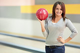 Girl with a bowling ball