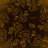 Seamless floral background pattern with gold flowers