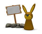 rabbit and wooden sign