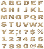 Wooden vector alphabet