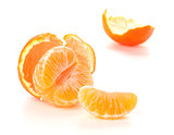 Ripe tangerines segments and rind