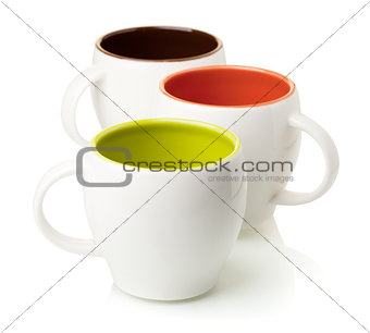 Three color coffee cups