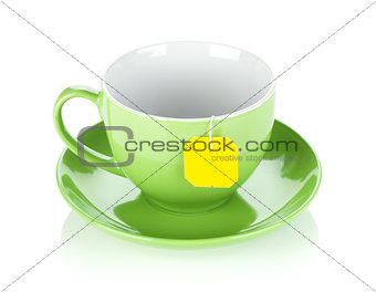 Green tea cup and teabag