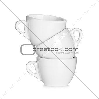 Three white coffee cups