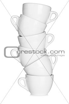 Six white coffee cups