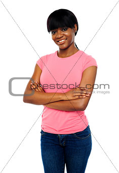 African teen posing with crossed arms